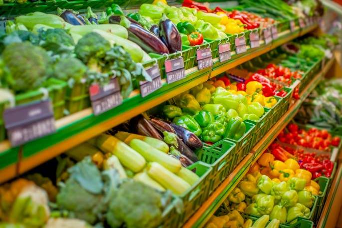 fresh produce at grocery store
